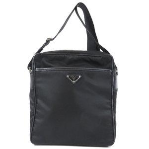 Prada logo plate shoulder bag nylon unisex PRADA