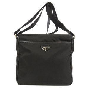 Prada logo plate shoulder bag nylon leather unisex PRADA