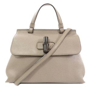 Gucci 370831 Bamboo Daily 2way Handbag Leather Ladies GUCCI