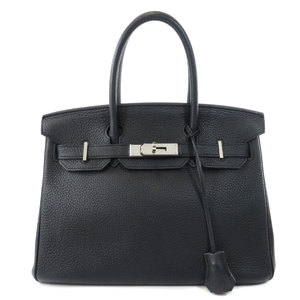 Hermes Birkin 30 Silver Hardware Black Handbag Taurillon Ladies HERMES