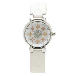LOUIS VUITTON Tambour Idy-le Blossom PM White Shell Dial SS Diamond Rubber Quartz QZ Ladies Watch Q12MS