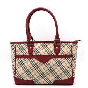 Burberry Nova Check Plaid Tote Bag Handbag Canvas Leather Beige Red