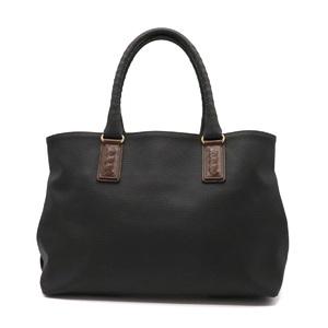 Bottega Veneta Marco Polo Tote Bag PVC Leather Black Dark Brown 222498