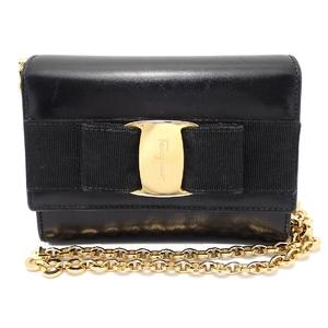 Salvatore Ferragamo 2WAY chain shoulder bag leather black gold hardware
