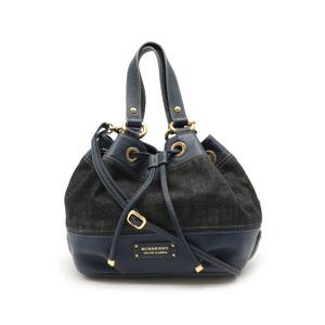 Burberry Blue Label Tote Bag Handbag 2WAY Shoulder Plaid Denim Leather Black Navy