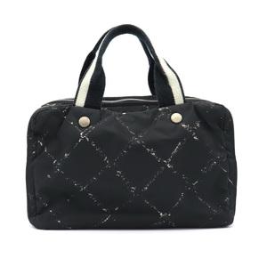 CHANEL Old Travel Line Mini Boston Bag Handbag Nylon Black Red