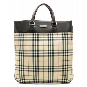 Burberry Nova Check Tote Bag Handbag Nylon Leather Beige Red Dark Brown Black