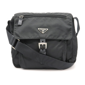 Prada shoulder bag nylon leather NERO black silver hardware BT8994