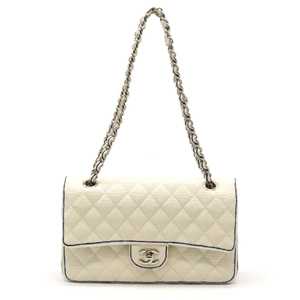 CHANEL Mattelasse Handbag 2WAY W Strap Chain Shoulder Canvas White Blue Silver Hardware