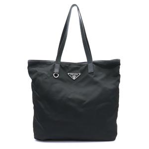Prada Tote bag Shoulder Handbag Nylon NERO Black logo Silver hardware BR4371