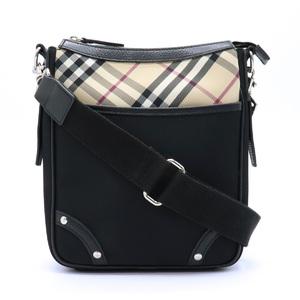 Burberry Nova Check Shoulder Bag Leather Nylon Canvas Beige Black Red