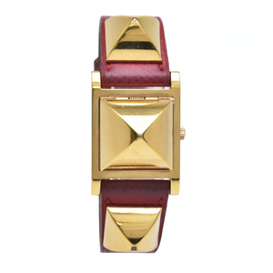 HERMES Medor White Dial GP Gold Plated Red Leather Ladies Quartz Watch ME1.201