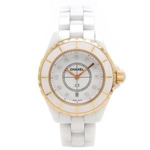 CHANEL J12 12P Diamond Ceramic 18K Pink Gold  Date Ladies Quartz Watch H2181