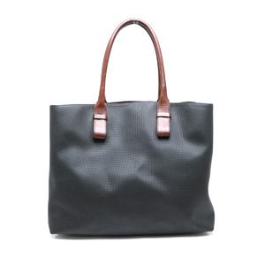 Bottega Veneta Marco Polo Tote Bag PVC Leather Black Dark Brown 107008