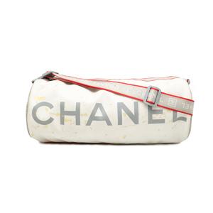 CHANEL Sport Line Coco Mark Shoulder Bag Tube Vinyl Nylon White Red Gray A28561