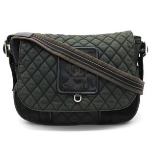 CHANEL Materasse Sport Line Quilted Shoulder Bag Logo Coco Mark Nylon Harako Black A33796