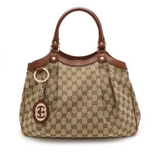 GUCCI Gucci Sukie GG canvas Shima handbag tote bag leather khaki beige brown