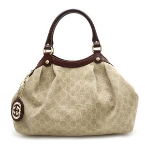 GUCCI Gucci Sukie GG canvas Shima handbag tote bag leather beige brown 211944