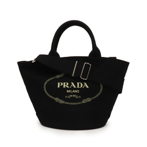 PRADA Prada CANAPA tote bag 2WAY shoulder with bucket pouch Canvas NERO Black 1BG186