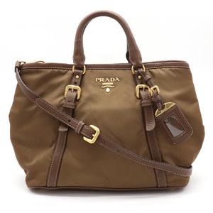 PRADA Prada 2WAY handbag shoulder bag nylon leather brown gold metal fittings BN1841