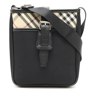 BURBERRY Burberry Nova Check Shoulder Bag Leather Nylon Canvas Beige Black Red