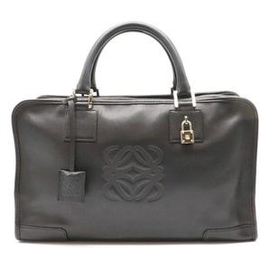 LOEWE Amazone 36 Handbag Mini Boston Leather Black Silver Hardware