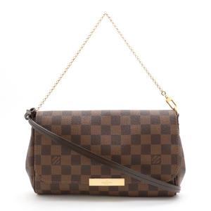 LOUIS VUITTON Louis Vuitton Damier Favorite MM 2WAY Accessory Pouch Clutch Bag Chain Shoulder N41129