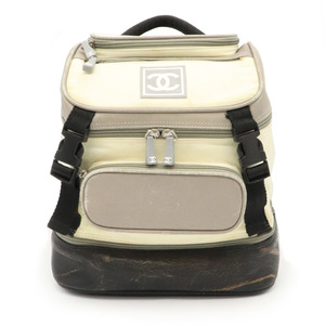 CHANEL Sports Line Cocomark Backpack Rucksack Nylon Rubber Leather Black Gray Cream A03595