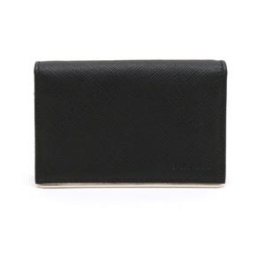 PRADA Prada card case business holder pass SAFFIANO METAL embossed leather NERO black silver metal fittings 1MC122