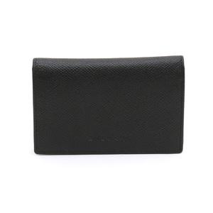 BVLGARI Bvlgari Classico Card Case Business Holder Pass ID Stamped Grain Leather Calf Black 20361