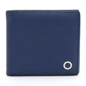 BVLGARI Bvlgari Grained leather Stamped Two-fold wallet Blue Silver Hardware 39324