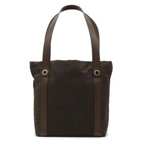 BVLGARI logo Mania tote bag handbag canvas leather dark brown with pouch 22284