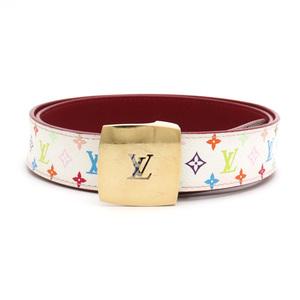 LOUIS VUITTON Louis Vuitton Monogram Multicolor Suntulle Carre Belt PVC Leather Bron White #90 M6891U