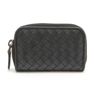 BOTTEGA VENETA Bottega Veneta Intrecciato Round fastener Coin case Leather Black 114075