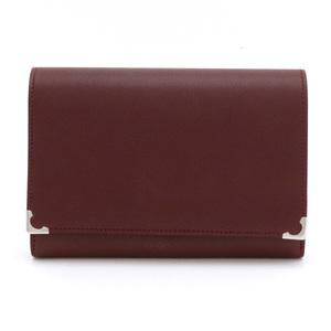 Cartier Mast line Must de Gamaguchi 2-fold wallet Leather Bordeaux Silver Hardware L3000612