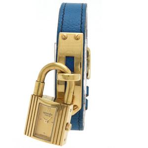 HERMES Kelly Watch Gold Dial Brown GP Plated Leather Belt Ladies Quartz
