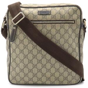 GUCCI Gucci GG Plus Supreme Shoulder Bag Coated Canvas Leather Khaki Beige Dark Brown 201448