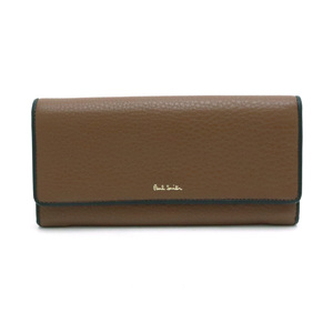Paul Smith Wallet Embossed Leather Brown Black Multi Stripe Color