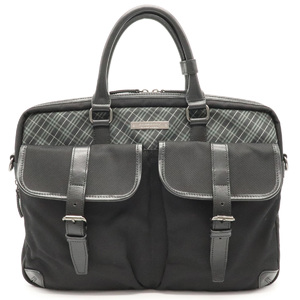 BURBERRY Black Label Business Bag Briefcase Plaid Nylon Leather Gray