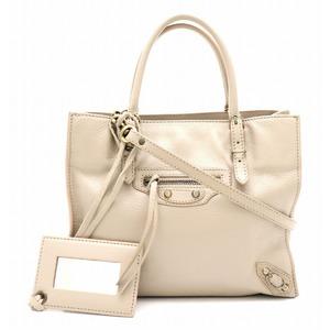 BALENCIAGA Paper mini handbag 2WAY shoulder bag leather beige with mirror 305572