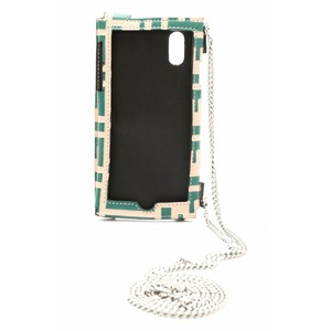 FENDI Cell phone case shoulder leather green beige silver metal fittings