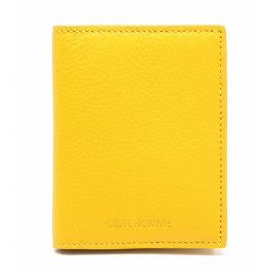 Christian Dior Homme Card Case Pass Business Holder Leather Yellow