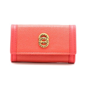 BVLGARI Bvlgari Doppio Tondo 4 Key Case Grain Leather Orange Pink Gold Hardware