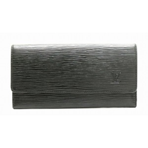 LOUIS VUITTON Louis Vuitton Epi Porten Long Wallet Leather Noir Black M63602
