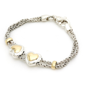 TIFFANY&Co. Tiffany Double Rope Heart Bracelet Chain K18YG SV925 Silver