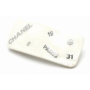 CHANEL Chanel logo Valletta hair clip hologram white silver