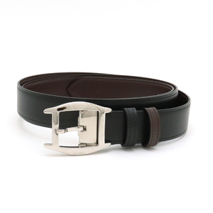 Cartier Toche Reversible Belt Leather Dark Brown Black Silver Hardware #110