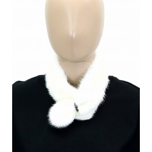 Fendi fur collar muffler neck warmer tippet mink silk 100% ivory