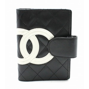 CHANEL Chambon line notebook cover 6-hole system black white pink A26727