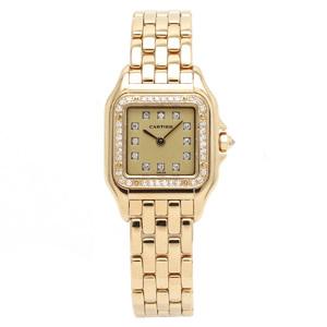 Cartier Panthere SM K18YG Diamond Bezel 12P Gold Dial Ladies QZ Quartz Wrist Watch